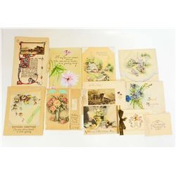LOT OF 11 VINTAGE 1920S-1930S GREETING CARDS