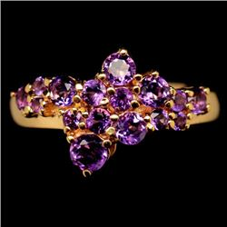 17.85 CT PURPLE AMETHYST STERLING SILVER RING - SIZE 7