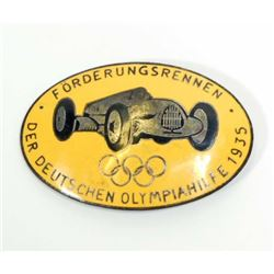 GERMAN NAZI PRE BERLIN SUMMER OLYMPICS RACE CAR BADGE