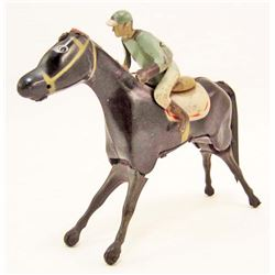 VINTAGE TIN LITHO WIND-UP TOY HORSE W/ JOCKEY - WORKS