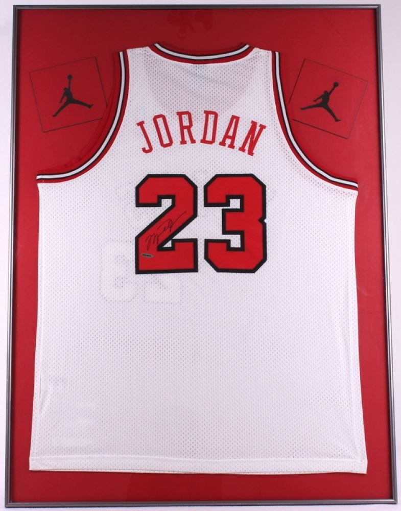 Michael Jordan Signed Bulls 30x40 Custom Framed Jersey Display ...