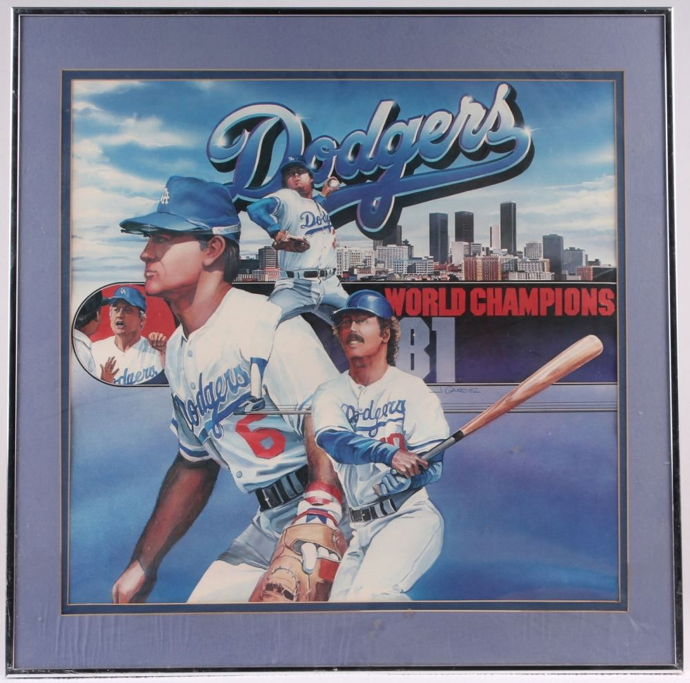 1981 World Series Champion Dodgers 21x21 Custom Framed Poster With