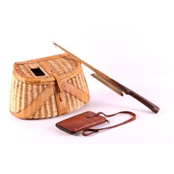Fishing creel with fly wallet and pole for Fly fishing creel