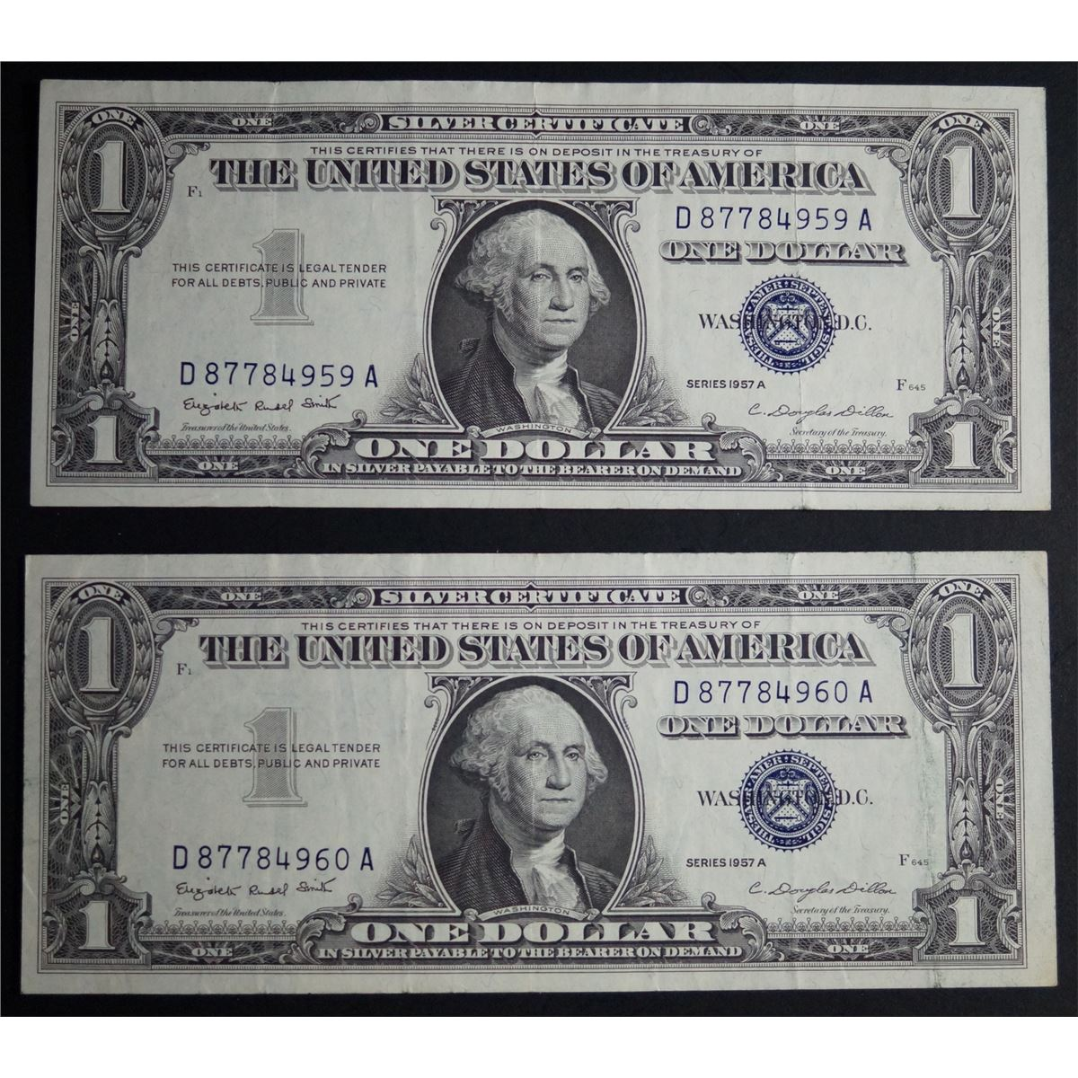 1957 a series one dollar silver certificate consecutive serial 1957 a series one dollar silver certificate consecutive serial numbers 1betcityfo Images