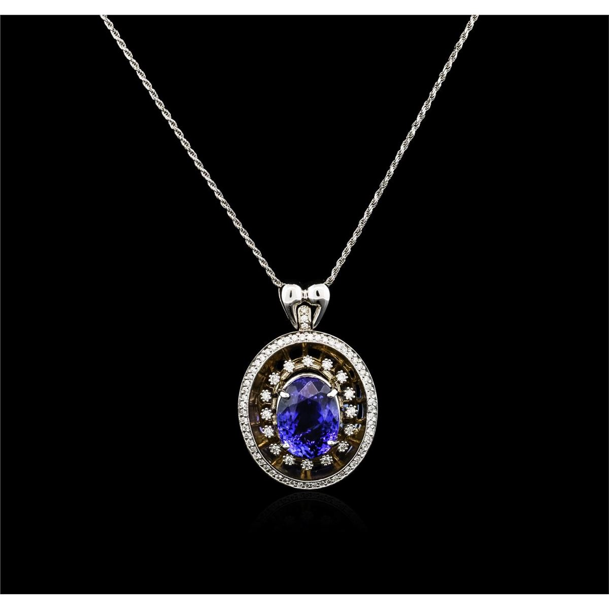 14kt White Gold 9 75ct Tanzanite And Diamond Pendant With