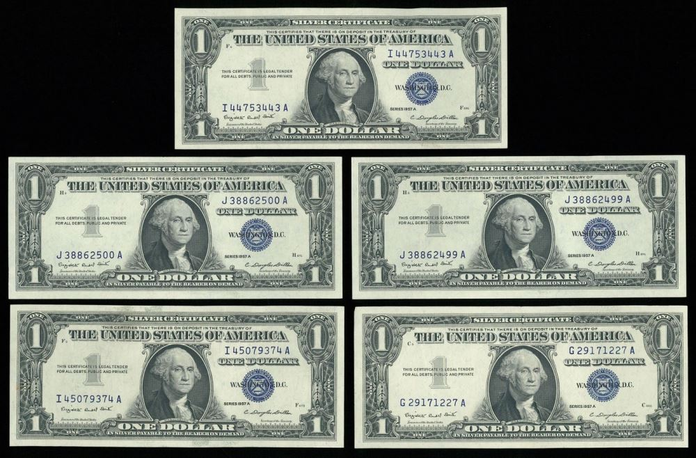 Lot of (5) 1957 U.S. $1 One Dollar Silver Certificate Notes