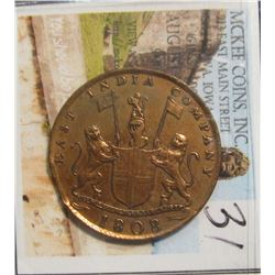 31. 1808 East India Company Copper. X Cash. EF.