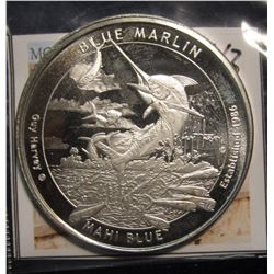 "43. 2015 ""Guy Harvey Blue Marlin Mahi Blue"" One Ounce .999 Fine Silver."