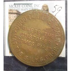 "59. Large Brass Whore House Token ""1942 Market Street/Two Ups/To Your/One Down/Denver, Colo."", Rever"