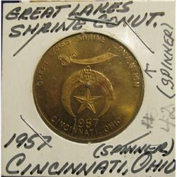 "89. 1957 ""Spinner"" Great Lake Shrine Convention. Cincinnati, Ohio. Brass. AU."