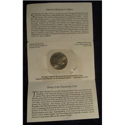 "95. 1988 ""Launch of the Space Shuttle Discovery"" Marshall Islands $5 Commemorative Coin with broschu"