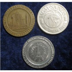 "101. ""MGM Sands/1/One Dollar Token"", ""MGM Sands/Las Vegas, Nevada/1988 First Edition/Gaming Token"";"