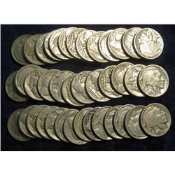 117. Roll of Circulated Mixed Date & Grade Buffalo Nickels. (40 pcs.)