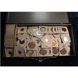 118. Over (130) Foreign Coins from around the World in a metal Security case.  These are not your av