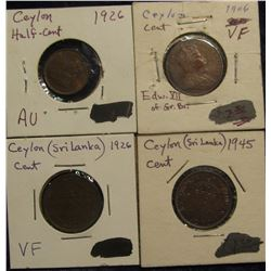 143. Collection of Ceylon Coins: 1926 Half Cent AU; 1906, 1926, & 1945 One Cents VF-BU.