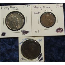144. Hong Kong Three-Piece Type Set: 1903 Large Cent VF, 1933 Cent VF, & 1987 $5 BU.