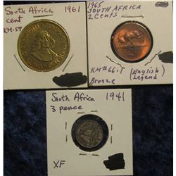 145. South Africa Three-Piece Type Set: 1965 Two Cent BU, 1941 Silver Three Pence EF; & 1961 Large C