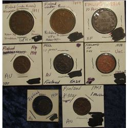 148. Hoard of Early Finland Copper: 1912 Penni EF, 1891 & 1899 Finland under Russia 10 Pennia VF-EF,