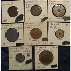 149. Denmark Type Set of Coins: (2) 1907 Two Ore Both EF, 1934 EF, 1943 EF & 1969 VF Five Ore; 1931