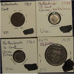 153. Netherlands: 1917 Cent VF, 1948 Unc & 1963 AU ten Cents; & 1970 2 1/2 Gulden EF.