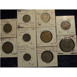 155. (10) Different Central & South American Coins. Some are a little scarcer.
