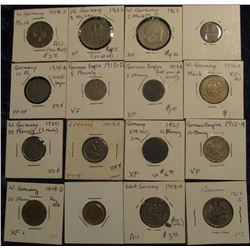 156. (16) Different German Coins dating back to 1910.