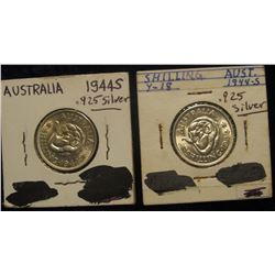 161. Gem BU Pair of 1944 S Australia Sterling Silver Shillings.