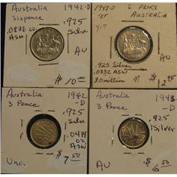 173. Australia Sterling Silver: 1942D Three & Six Pence & 1943D Three & Six Pence. All AU.