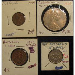 175. Australia: 1977 Cent EF; 1972 Two Cent AU; 1967 Five Cent Unc; & 1969 Fifty Cent AU.