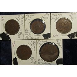 178. Azores: 1901 5 Reis 100% Die Crack causing 2 chips EF; (3) 1901 K17 10 Reis VF-EF+; & 1866 20 R