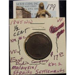 179. 1845  WW Malaysia Straits Settlement East India Company Half Cent. KM # 2. VF+.