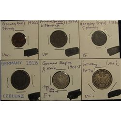 184. Early German Type Set of Coins: 1936A (Nazi) Germany Pfennig UNC; 1859A Prussia German States 2