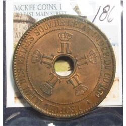 186. 1888 Belgian Congo Ten Centimes large Copper. AU.
