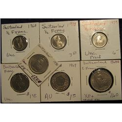 187. Switzerland Coinsage: 1968, 78, & 79 1/2 Franc All BU; 1968, 69, & 1970 Franc All BU; & 1968B @