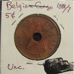 189. 1888/7 Belgian Congo Five Cent. Red/brown Unc. Superbly scarce overdate.