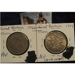 190. 1951 & 1959 Great Britain Florin. Both AU.