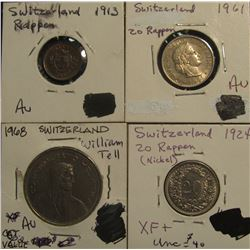 199. Switzerland Type Collection: 1913 Rappen AU; 1924 & 61 20 Rappen EF; & 1968 Five Francs depicts