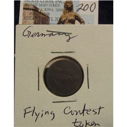 "200. German ""Weltflug Spiel"" Bi-Plane Token. World War I era."