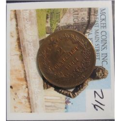 216. 1861 N Kingodom of Italy 2 Centesimi. First Year of Italian Unification. Brown AU.