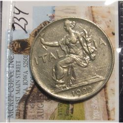 234. 1922R Italy One Lira. Mussolini marches on Rome this year. VF+.