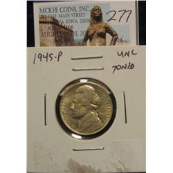277. 1945-P Silver WWII Jefferson Nickel, UNC toned