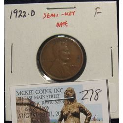 278. 1922-D Lincoln Cent, F, SEMI-KEY DATE!
