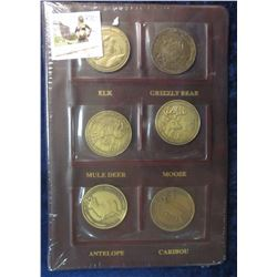 282. North American Hunting Club Big Game Collector's Series 39mm Brass Medallions. Complete Set of