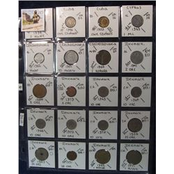 283. World Coins, 20 in page, all identified and from Croatia, Cuba, Cyprus, Czechoslovakia, & Denma