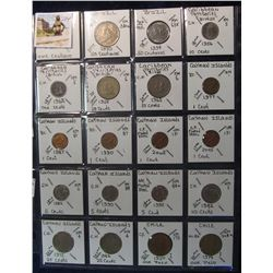 284. World Coins, 20 in page, all identified and from Brazil, Caribbean Territories, Cayman Islands,