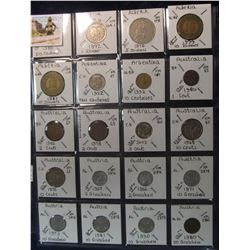 287. World Coins, 20 in page, all identified and from Algeria, Argentina, Australia, & Austria. KM V
