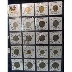 288. (20) Spain Coins in page, all different denominations or dates identified. KM Value $12.25.
