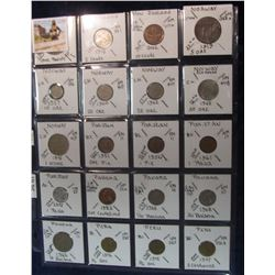 289. World Coins, 20 in page, all identified and from New Zealand, Norway, Pakistan, Panama, & Peru.