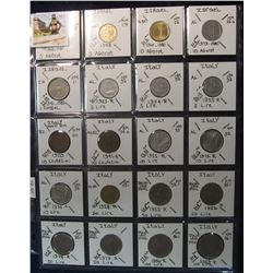 290. World Coins, 20 in page, all identified and from Israel & Italy. KM value $18.45.