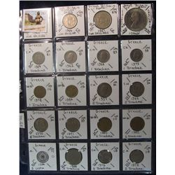 291. World Coins, 20 in page, all identified and from Great Britain & Greece. KM value $20.65.